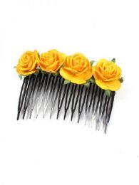 Peineta de flores realizada Mod Amarillo os