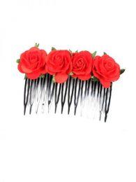 Peineta de flores realizada Mod Rojo