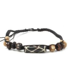 Waxed cotton anklet and beads in bone, coconut wood etc. Ideal TOCH2 to buy wholesale or detail in the Alternative Ethnic Hippie Jewelery category.