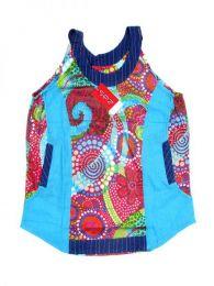 Top hippie patch estampado Mod Azul