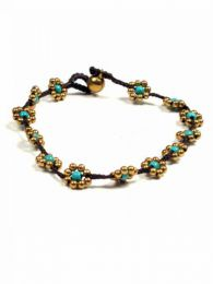 Hippie Anklets - Flowers anklet with turquoise brass [TOMS02] to buy wholesale or detail in the category of Alternative Ethnic Hippie Jewelery.