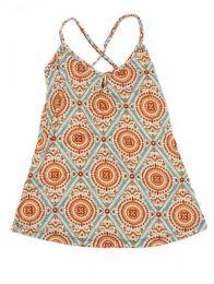 Top y Blusas Hippie Boho Ethnic - Top hippie con estampado mandalas. TOSN01 - Modelo Beige