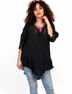 Hippie blouse with tassels and crochet lace TOTE01 to buy in bulk or in detail in the Alternative Ethnic Hippie Outlet category.