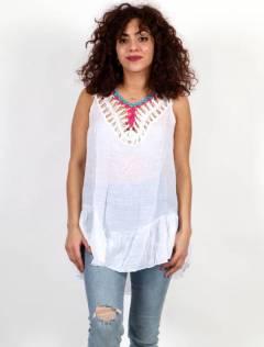 Camisetas y Tops Hippies - Blusa hippie encaje borlas y ganchillo [TOTE02] para comprar al por mayor o detalle  en la categoría de Ropa Hippie Alternativa para Mujer.