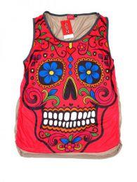 Camisetas y Tops Hippies - top calavera hippie, top de TOUN34 - Modelo Rojo