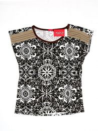 Camisetas y Tops Hippies - Blusa con estampado étnico TOUN51 - Modelo Marrón