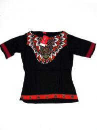 Top y Blusas Hippie Boho Ethnic - Blusa con estampado étnico TOUN52 - Modelo Negro