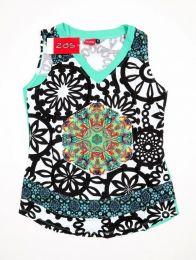 Top y Blusas Hippie Boho Ethnic - Top con estampado y parche TOUN57 - Modelo Verde