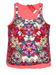 Top y Blusas Hippie Boho Ethnic - Topcon estampado de flores TOUN59 - Modelo SalmÓn