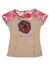 Top y Blusas Hippies Alternativas - Top con troquelado de hojas TOUN60 - Modelo Marrón