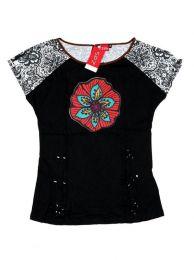 Top y Blusas Hippie Boho Ethnic - Top con troquelado de hojas TOUN60 - Modelo Negro