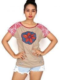 Camisetas y Tops Hippies - Top con troquelado de hojas TOUN60.