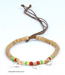 Adjustable wooden bead anklet with shark teeth. Hippie Anklets to buy wholesale or detail in the Alternative Ethnic Hippie Jewelry and Silver category | ZAS Online Store. [TOVI02]