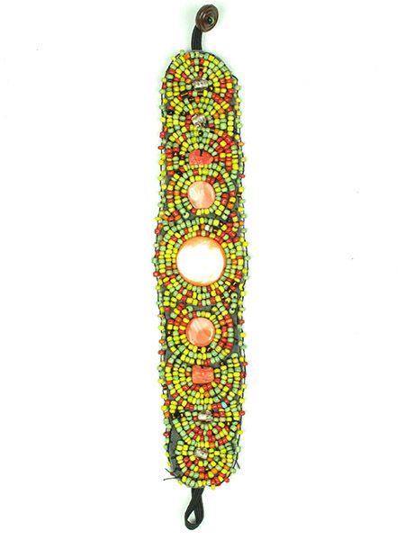 Ethnic Hippie Bracelets - Wide multi-beads ethnic bracelet PUAB01 to buy Wholesale or Retail in the category of Alternative Ethnic Hippie Jewelery