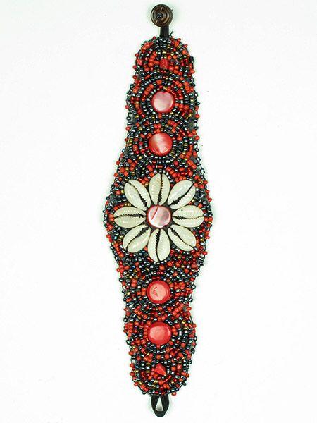Pulseras Hippie Etnicas - Pulsera étnica ancha flor conchas [PUAB03] para comprar al por mayor o detalle  en la categoría de Bisutería Hippie Étnica Alternativa.