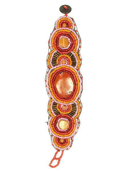 Pulsera realizada con multiples cuentas de colores y grandes piedra Comprar - Venta Mayorista y detalle