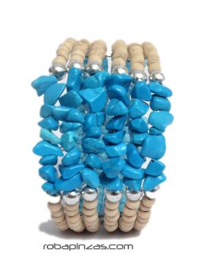 Pulsera alambre madera conchas, Pulsera realizada con cuentas de PUAL03 para comprar al por mayor o detalle  en la categoría de Bisutería Hippie Étnica Alternativa.