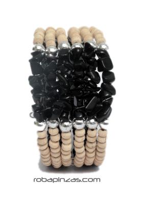 Pulsera alambre madera conchas, Pulsera realizada con cuentas de Comprar - Venta Mayorista y detalle