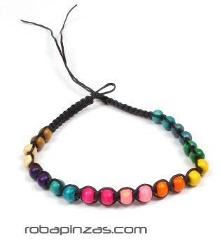 Pulsera de bolas de madera de colores rainbow, cierre regulable Comprar - Venta Mayorista y detalle