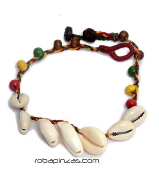 Pulsera de algodón adornada con cascabeles de colores y conchitas Comprar - Venta Mayorista y detalle