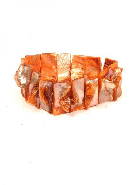 Pulsera elástica conchas madre perla - Salmon Comprar al mayor o detalle