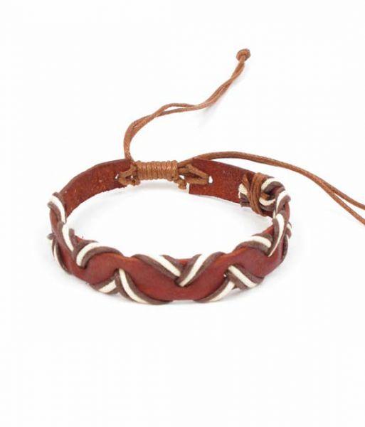 Pulsera cuero ondulada, pulsera combinación cuero y cordón haciendo [PUCN03-CL] para Comprar al mayor o detalle