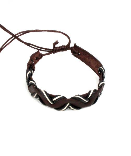 Pulsera cuero ondas regulable. pulsera realizada en cuero y cordón Comprar - Venta Mayorista y detalle