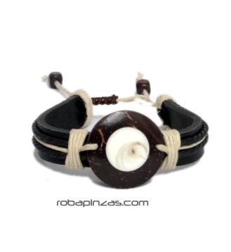 Pulsera de Cuero adornos cordón, motivo Ojo de Shiva sobre coco. [PUCU02_B] para comprar al por Mayor o Detalle en la categoría de Pulseras de Cuero