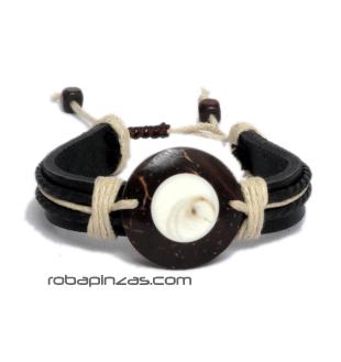 Pulsera de Cuero adornos cordón, motivo Ojo de Shiva sobre coco. - Marrón Comprar al mayor o detalle