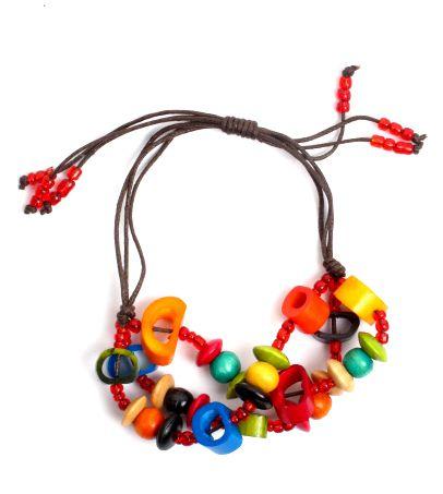 Pulseras Hippie Etnicas - Pulsera hippie hecha a mano con cuentas de hueso, beads de plástico y bolitas de madera coloreadas, cierre regulable PUFA01 para comprar al por Mayor o Detalle en la categoría de Bisutería Hippie Étnica Alternativa