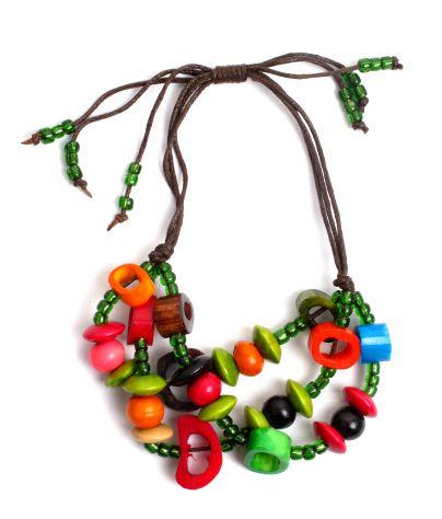 Pulseras Hippie Etnicas - Pulsera hippie hecha a mano con cuentas de hueso, beads de plástico [PUFA01] para comprar al por mayor o detalle  en la categoría de Bisutería Hippie Étnica Alternativa.