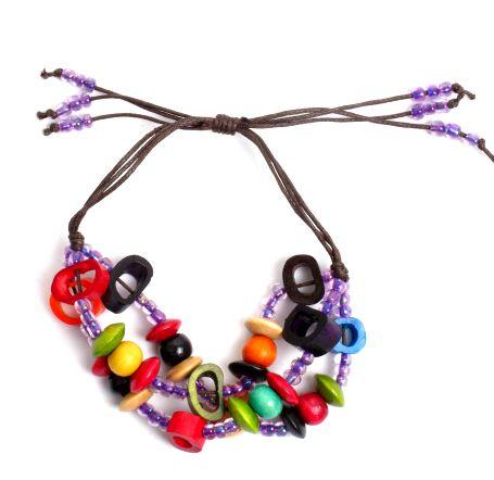 Pulsera hippie hecha a mano con cuentas de hueso, beads de plástico Comprar - Venta Mayorista y detalle