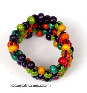 Pulsera hippie bolas colores, realizada con bolas de madera sobre hileras de hilo elástico ancha 7 vueltas de bolas de madera de colores. - detalle Comprar al mayor o detalle