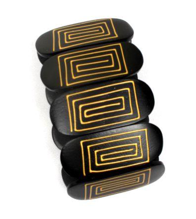 Pulsera bangle madera elástica decorada PUMD13B para comprar al por mayor o detalle  en la categoría de Bisutería Hippie Étnica Alternativa.