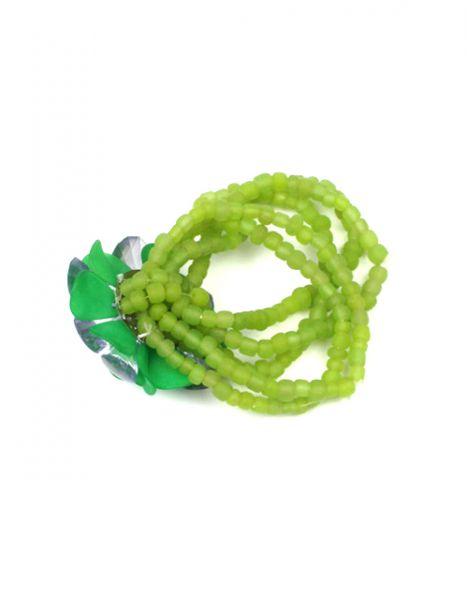 Pulsera flor cristal cuentas. pulsera realizada con cuentas de colores de crsital sobre hilos elásticos, con 7 vuelta y motivo central en flor de cirdtas. elástica - Detalle Comprar al mayor o detalle