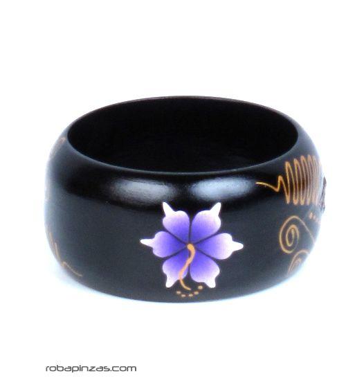 Pulsera madera tipo bangle anchas decoradas con flores. para Comprar al mayor o detalle