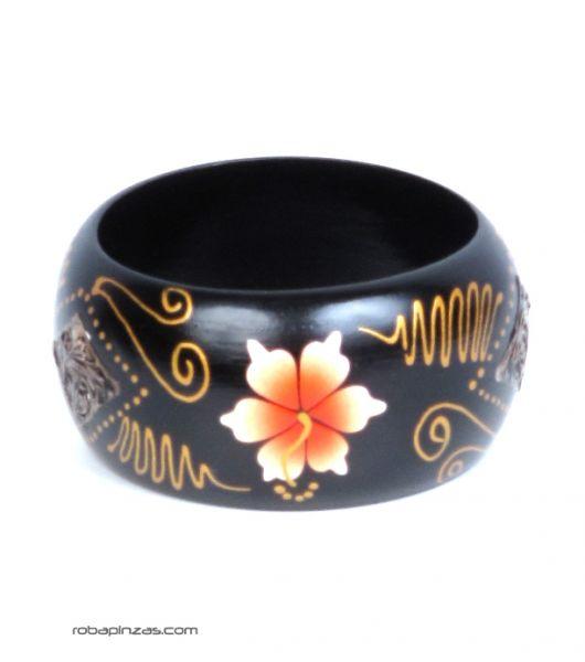 Pulsera madera tipo bangle anchas decoradas con flores. Comprar - Venta Mayorista y detalle