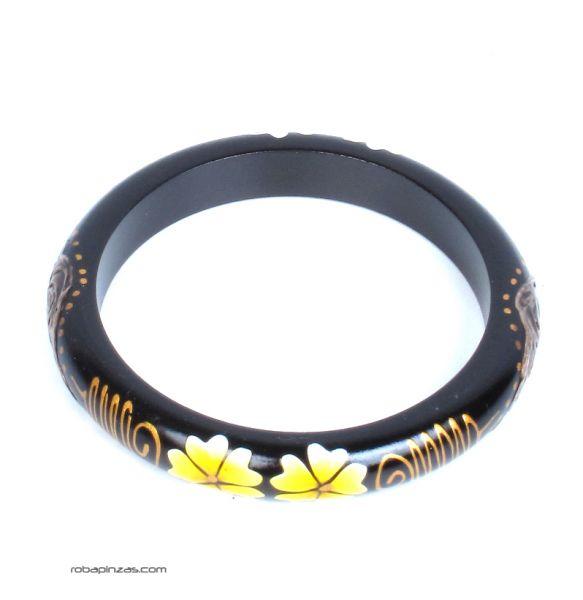 Pulsera blangle madera flor. Pulsera tipo bangle estrecha realizada en madera de Sono y palama con decoración de flores - Comprar al Mayor o Detalle