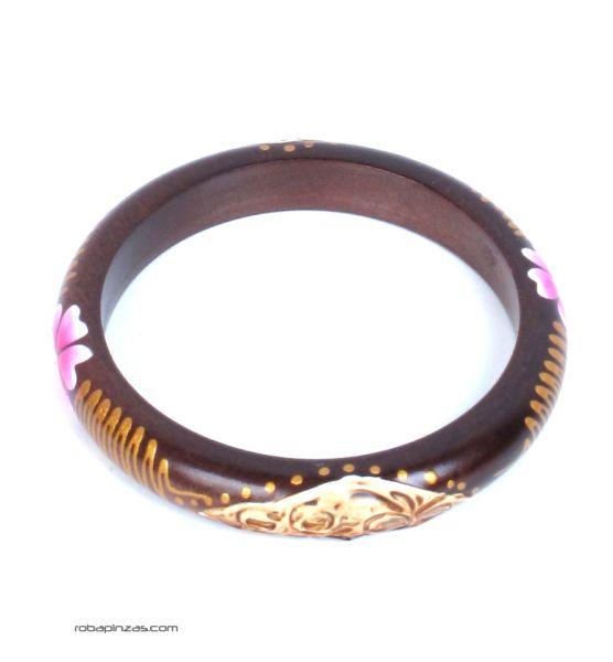 Pulsera blangle madera flor. Pulsera tipo bangle estrecha realizada Comprar - Venta Mayorista y detalle