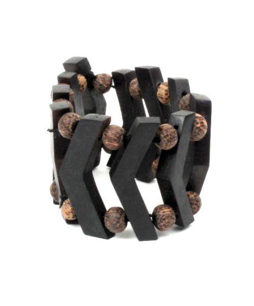 Pulsera madera sono ancha. realizadas con madera de sono sobre elástico con adornos de bolitas de madera. - Detalle Comprar al mayor o detalle