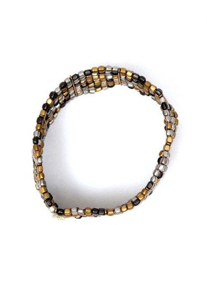 Pulsera ancha lineas plateadas, doradas o combinación de varios colores, 10 líneas de cuentas elásticas - Detalle Comprar al mayor o detalle