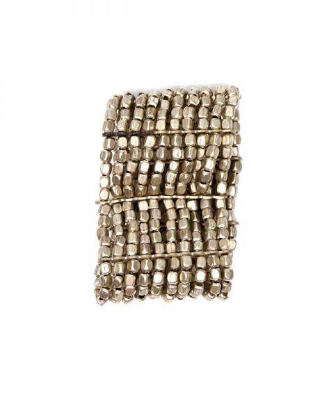 Pulsera hippie ancha metal, realizada con 10 líneas elásticas de cuentas metálicas en color plateado o dorado, es elástica y se ajusta a todas las muñecas - Detalle Comprar al mayor o detalle
