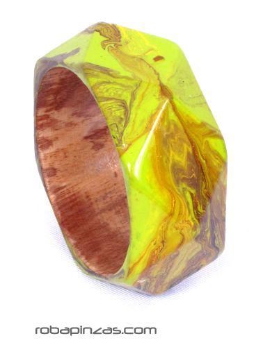 Pulsera pintada de madera poligonal, tipo bangle Comprar - Venta Mayorista y detalle