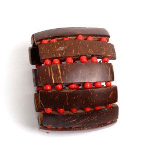 Pulseras Hippie Etnicas - Pulsera ancha de madera y PUPA07B - Modelo Rojo