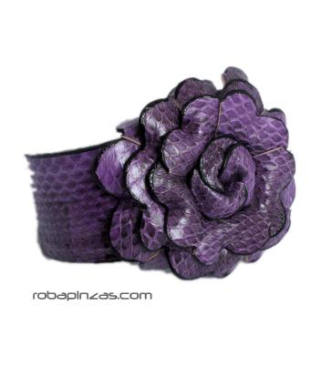 Pulsera regulable en piel de pitón cmotivo flor. Piel natural o teñida Comprar - Venta Mayorista y detalle