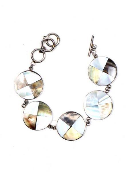Pulsera en acero inox con conchas, nacar, madre perla, cierre regulable - M182 Comprar al mayor o detalle