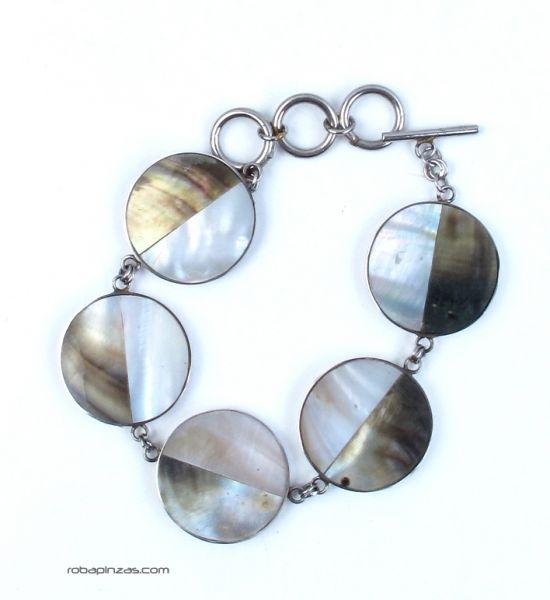Pulsera en acero inox con conchas, nacar, madre perla, cierre regulable [PUVI20] para Comprar al mayor o detalle