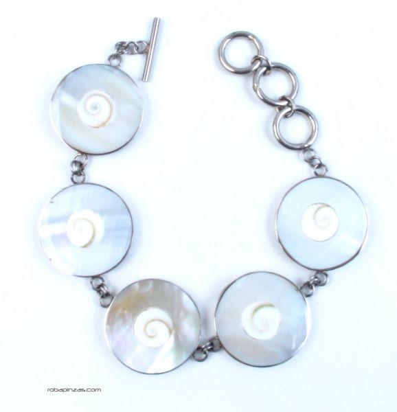 Pulsera en acero inox con conchas, nacar, madre perla, cierre regulable Comprar - Venta Mayorista y detalle
