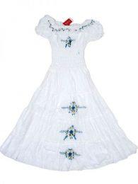 Vestido con bordado de flores Mod Blanco