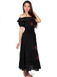 Vestido con bordado de flores detalle del producto